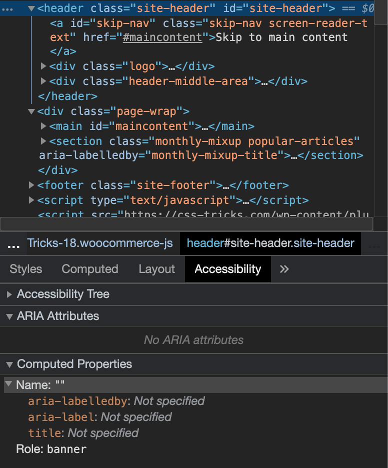 The accessibility tab in chrome dev tools showing the header element with a default role of banner