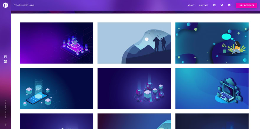 Free Illustrations landing page