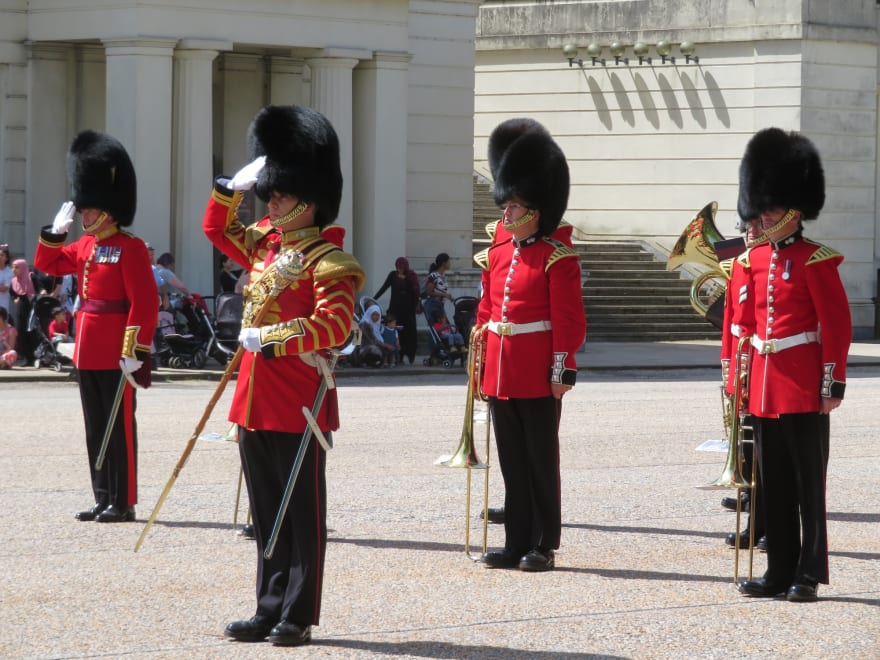 British Royal guards standing at attention