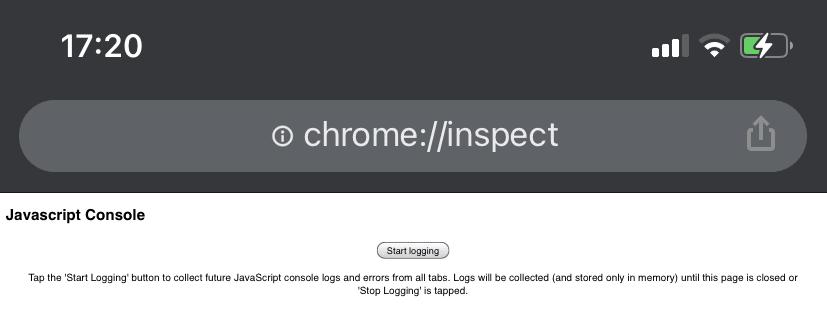 Chrome inspect tab on iOS
