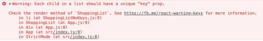 Error message when forgetting to add akey