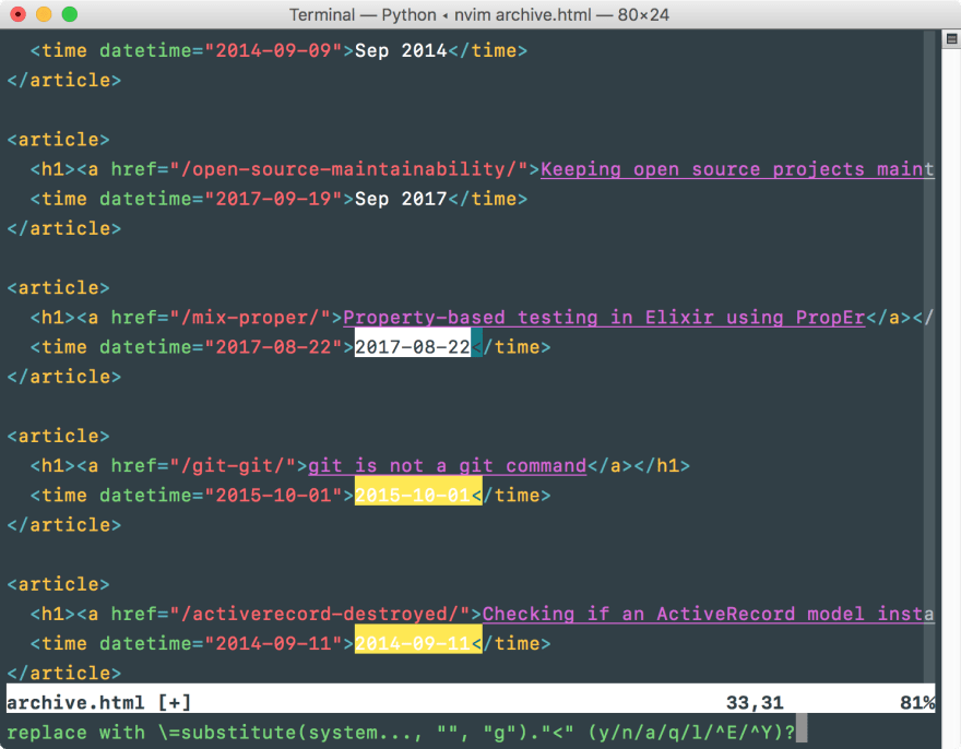 Finding, converting and replacing dates with Vim<br> substitutions