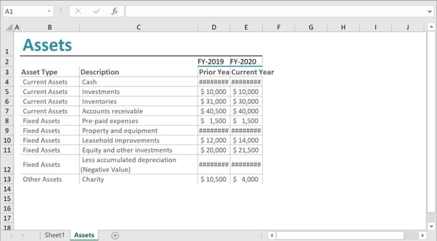 Creating Assets Worksheet Using Flutter Excel Library