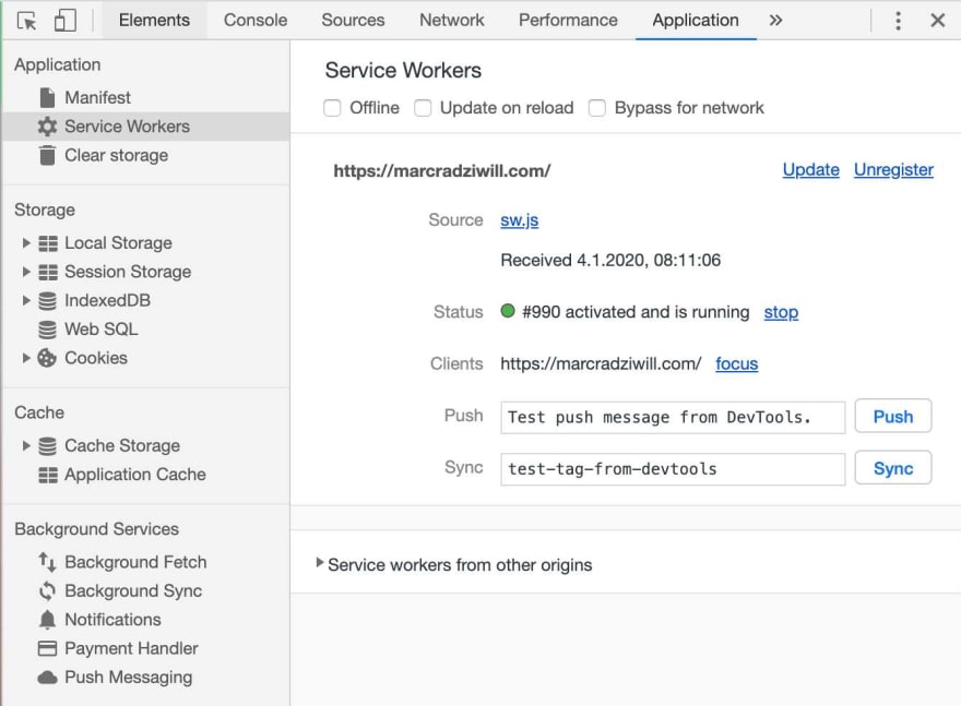 Running service worker in the developer tools console in google chrome