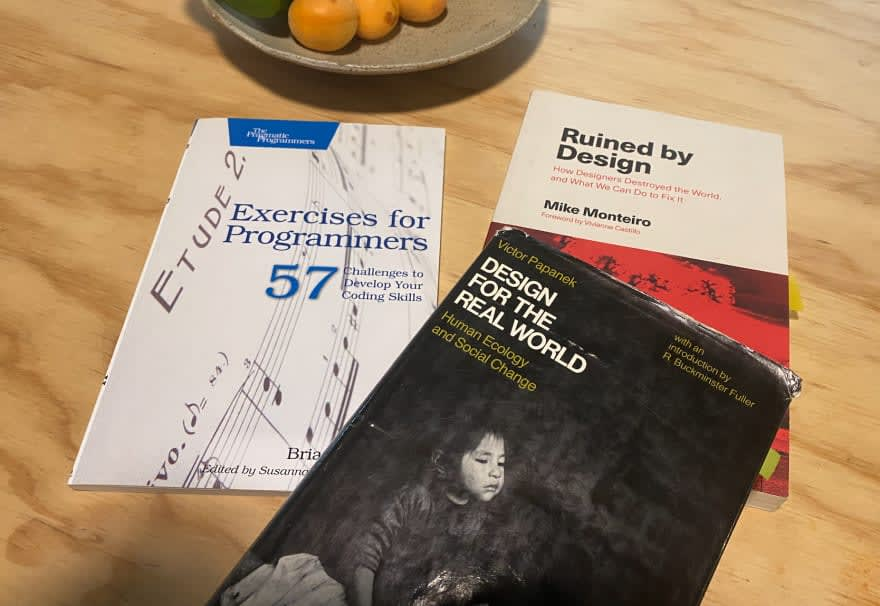 """Book covers of <br> """"Design for the Real World"""", """"Ruined by Design"""", and """"Exercises for Programmers"""""""