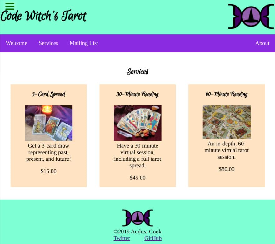 Screenshot of tarot product landing page