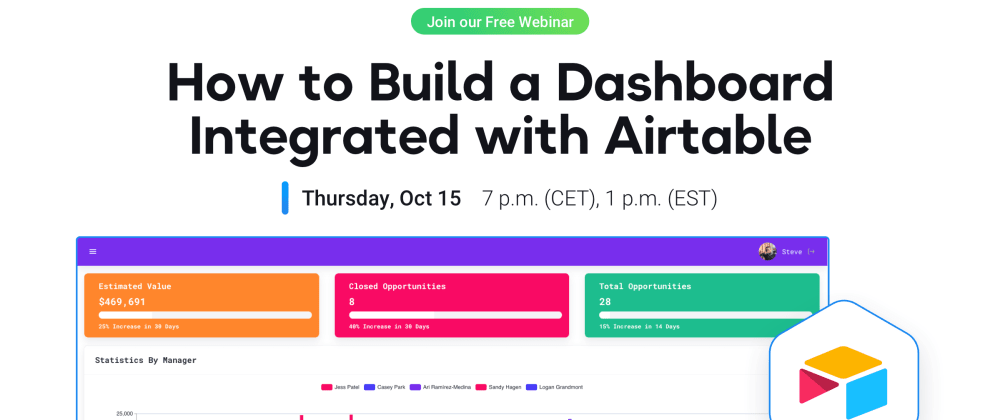 Cover image for Join a 40-min webinar on creating a dashboard integrated with Airtable