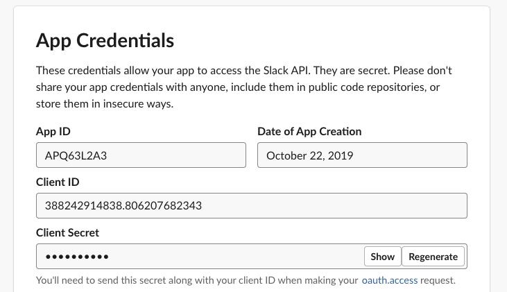 My Slack App credentials