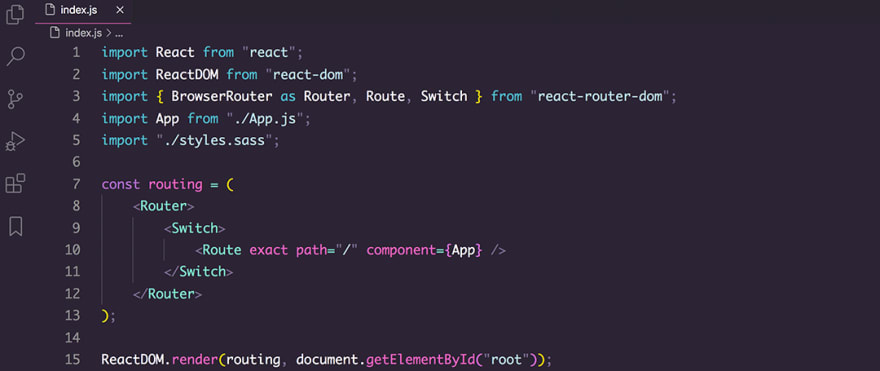 React code snippet with the LaserWave theme