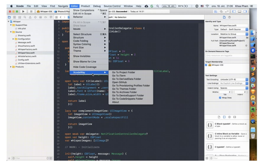 XcodeWay works by creating a menu under Editor with lots of options to navigate to other places right from Xcode. It looks simple but there was some hard work required.