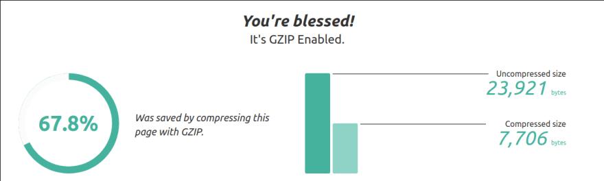 Image of gzip compression checker website