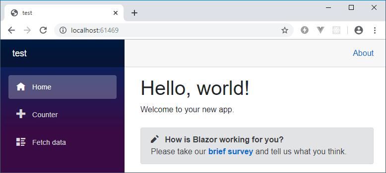 Blazor client-side app