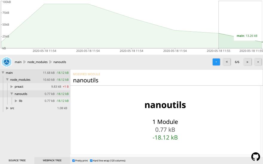 Webpack Stats Explorer showing results of applying Babel plugin enabling tree-shaking for nanoutils library