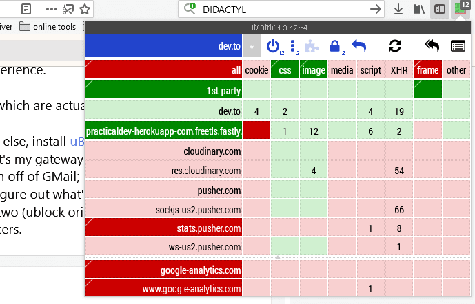 uMatrix screenshot