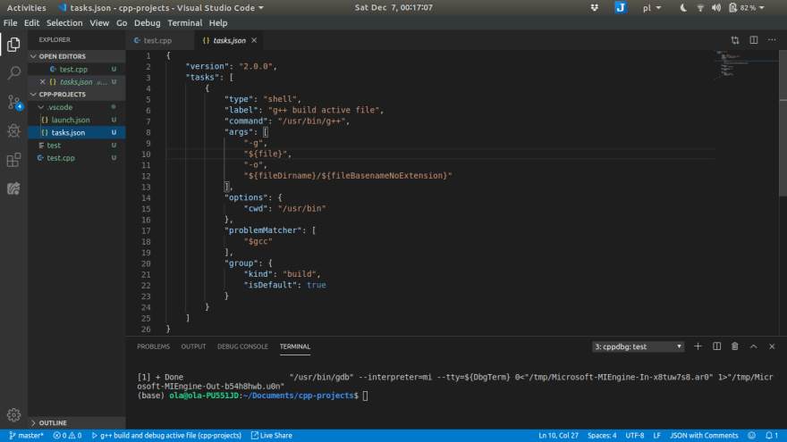 g++ build active file
