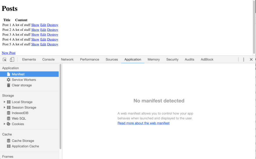 Brand new Rails app without any manifest.json