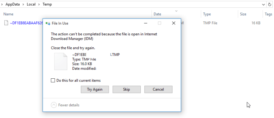 Windows prevents a Temp file from being deleted