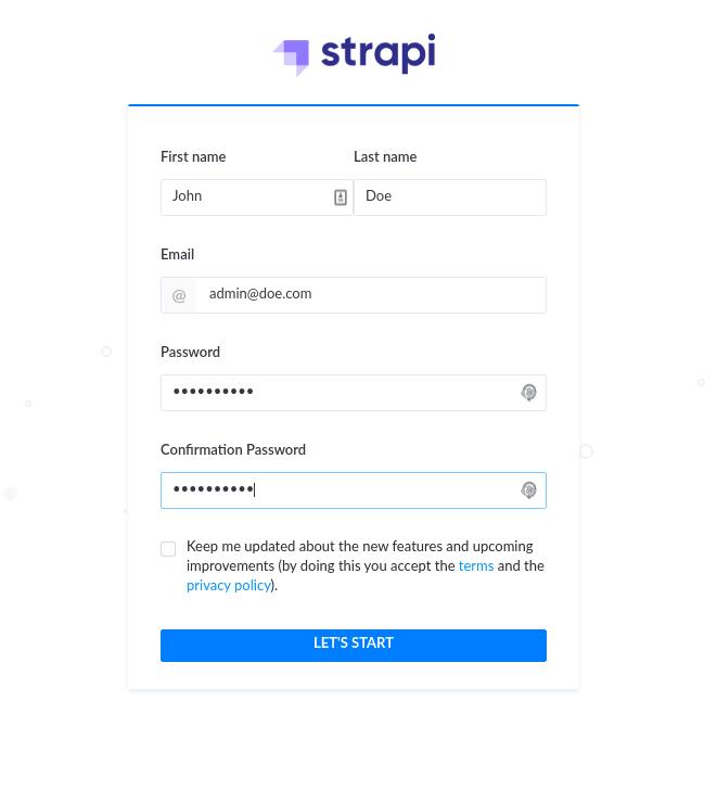Strapi admin creation