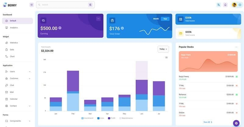 Berry React - recently updated open-source admin dashboard.