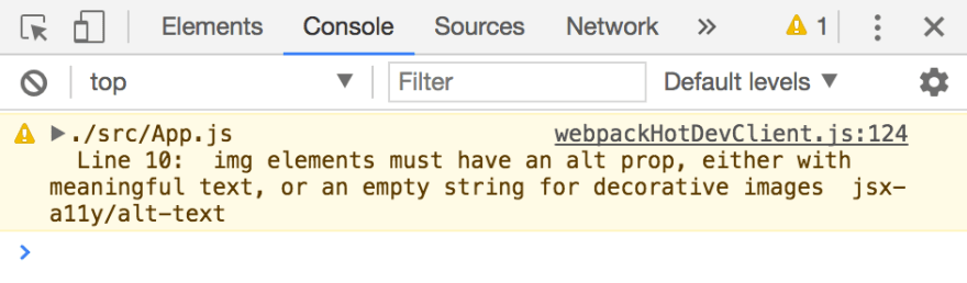 Screenshot of the Chrome DevTools JavaScript console with the following message: Line 10 img elements must have an alt prop, either with meaningful text, or an empty string for decorative images. jsx-a11y/alt-text.