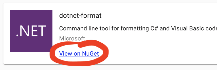 Example link to NuGet from ToolGet