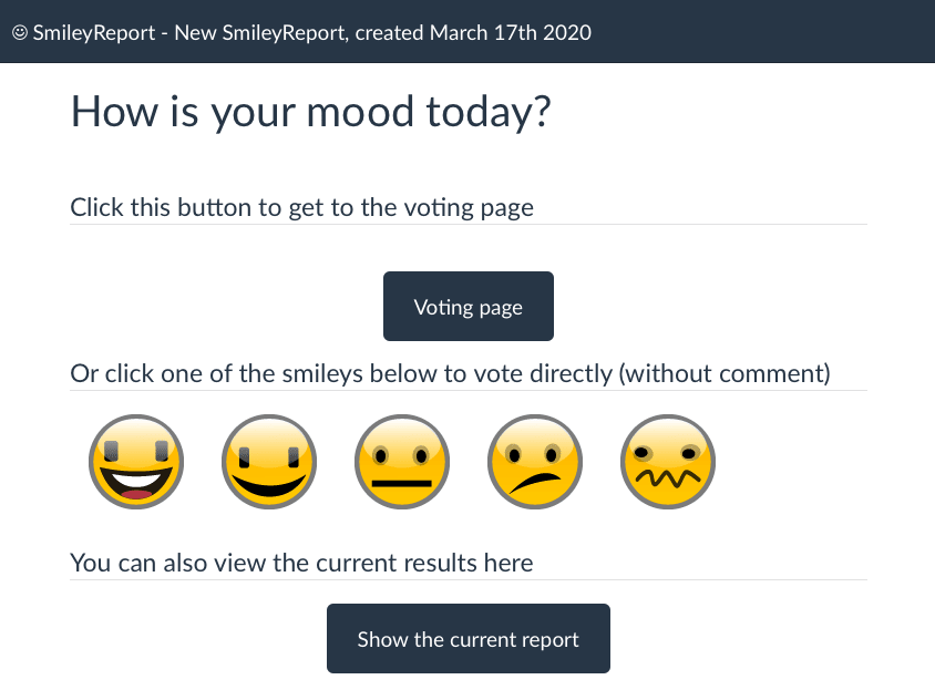 The SmileyReport voting page