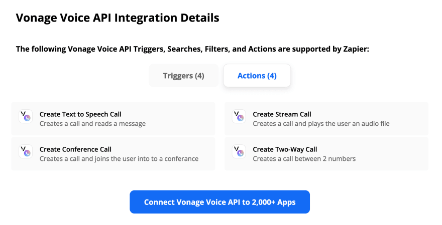 Screenshot featuring the Vonage Voice API actions in Zapier