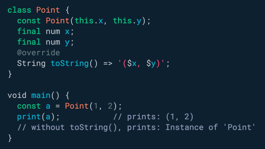 Implement `toString()` in your classes to improve the debugging experience.
