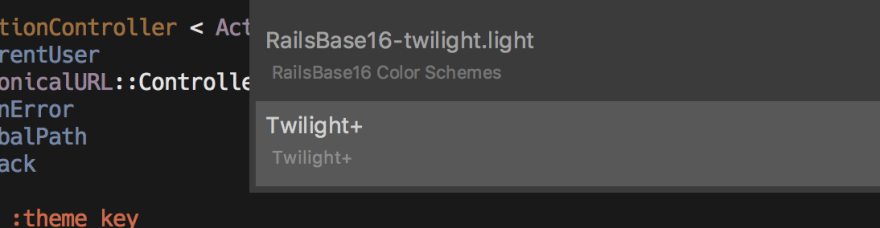 Selecting the Twilight+ color scheme in Sublime Text 3