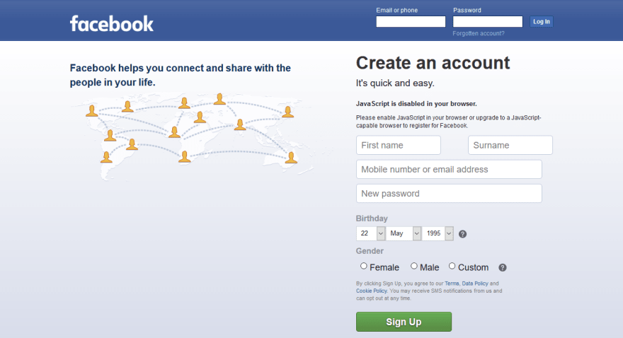 Facebook homepage with JavaScript disabled