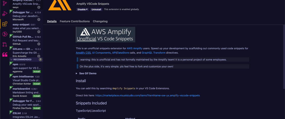 Cover image for Unofficial VS Code Snippets for AWS Amplify