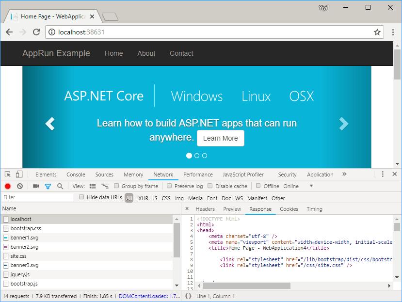 App returns HTML