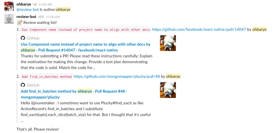 Show pull requests awaiting review on Slack periodically - DEV
