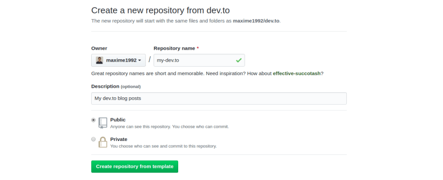 Define the name, description and visibility of the repository