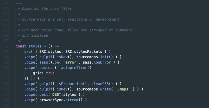 Screenshot from VS Code showing a snippet of the code in the gulpfile currently used by the theme