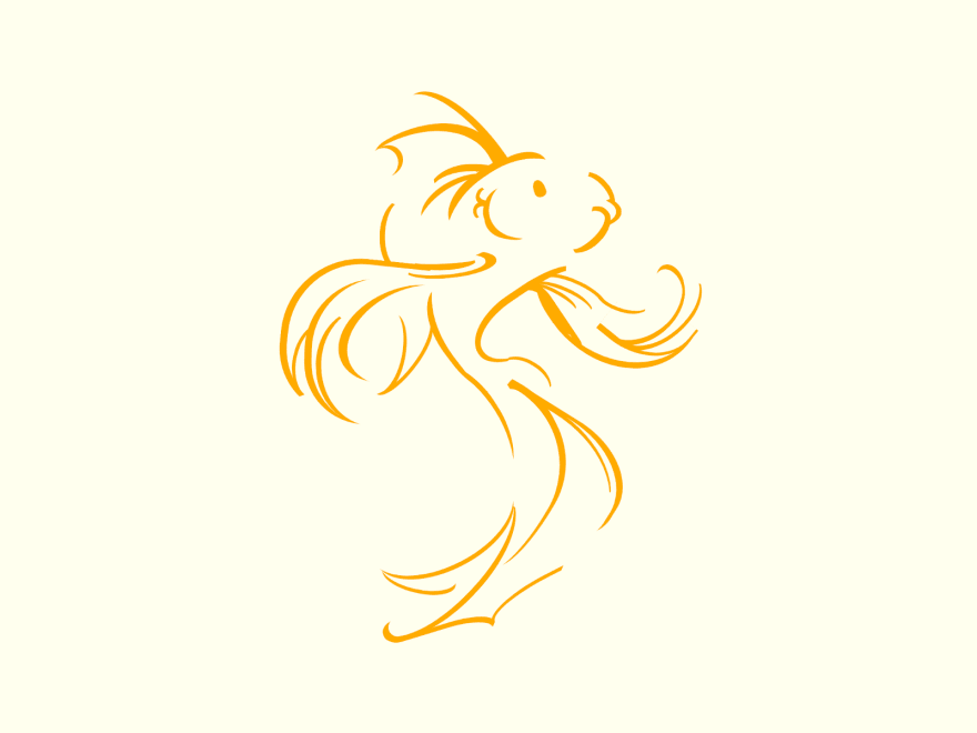 Cartoon of a koi done with lines