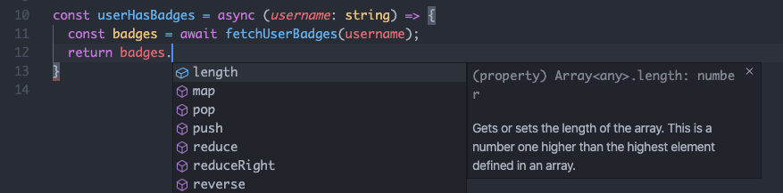 typescript intellisense
