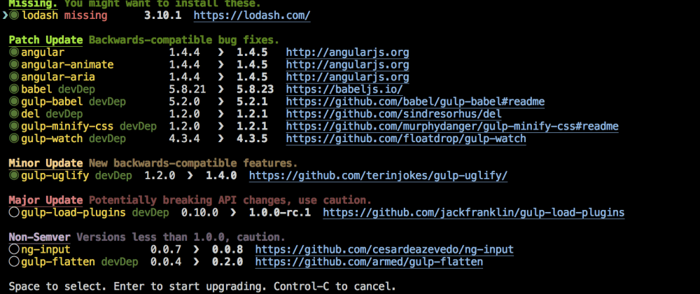 Cover image for Keep your NPM dependencies up to date with npm-check
