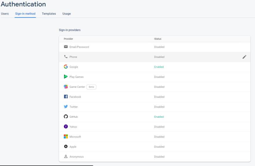 firebaseUI login options