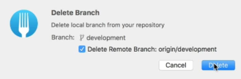 Menu that asks if you want to remove the branch from the origin