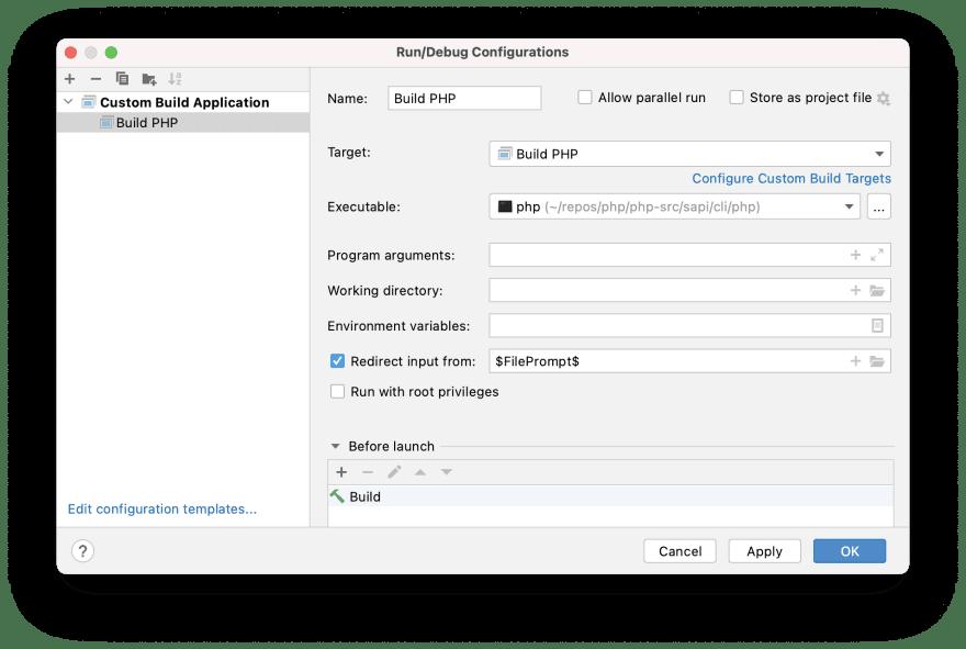 """Build PHP"" run/debug configuration"