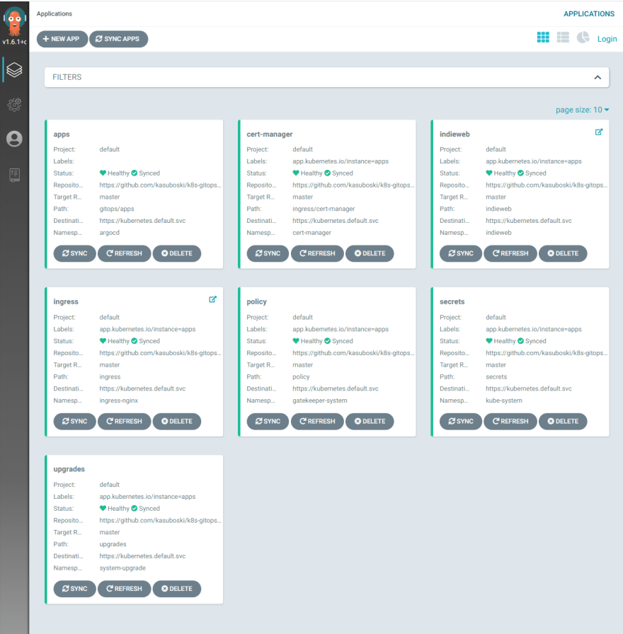 The argo dashboard shows apps