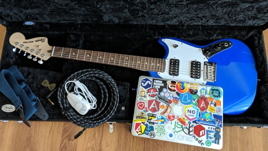 My Web Audio devices: Squier by Fender Mustang, Behringer UCG-102, MacBook Pro, cables, picks