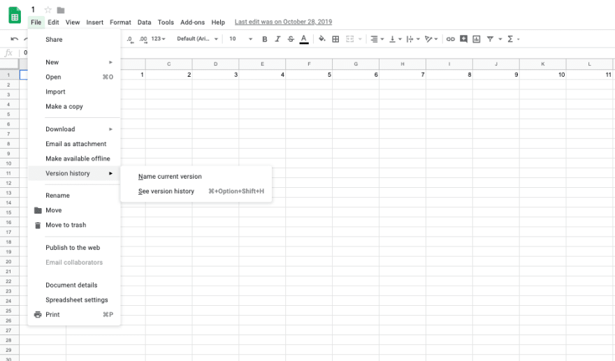 How to access version history in Google Sheets