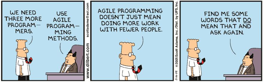 Dilbert uses Agile