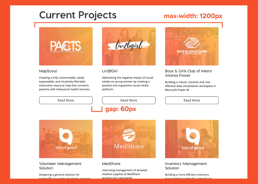 Screenshot of Bits of Good projects page