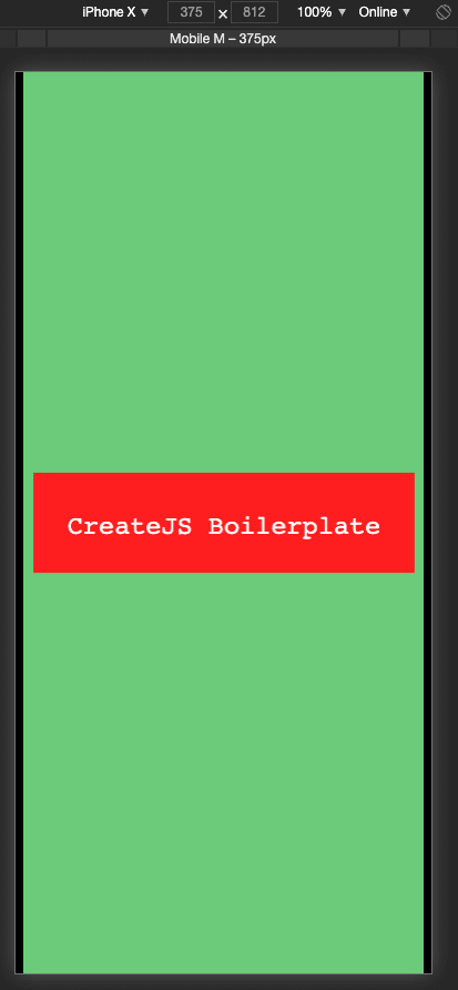 CreateJS Boilerplate's initial screen with changed text and background colors