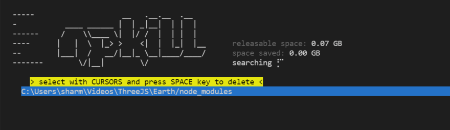 Select nodemodules and delete