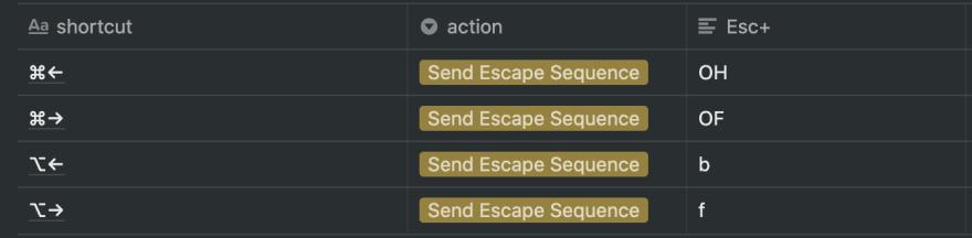 Setting the shortcuts