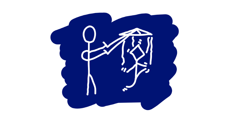 A puppet master stick figure that practices its art.
